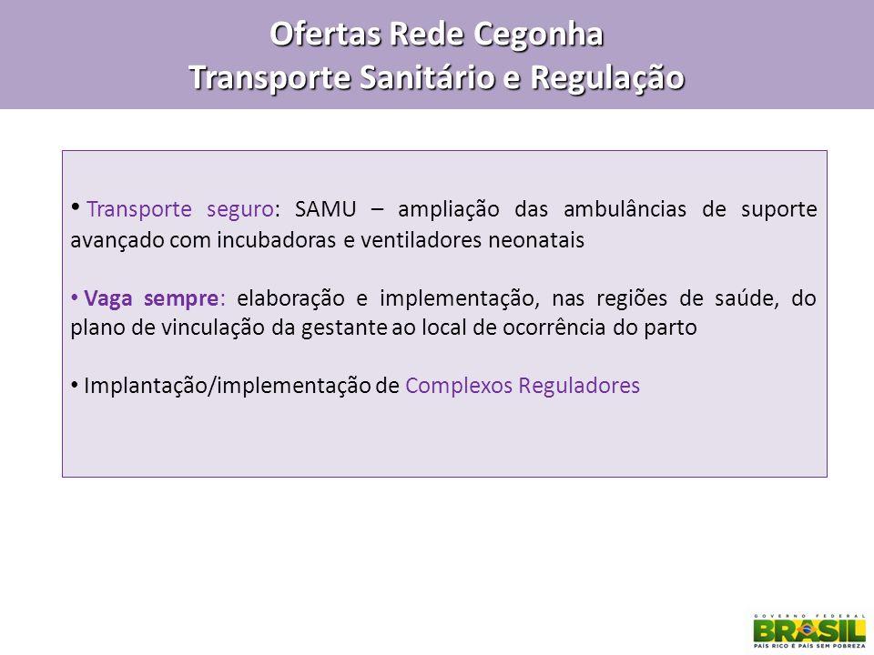 Ofertas Rede Cegonha Transporte Sanitário e Regulação