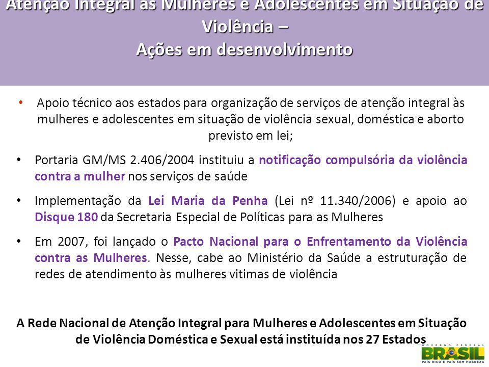 Atenção Integral às Mulheres e Adolescentes em Situação de Violência – Ações em desenvolvimento