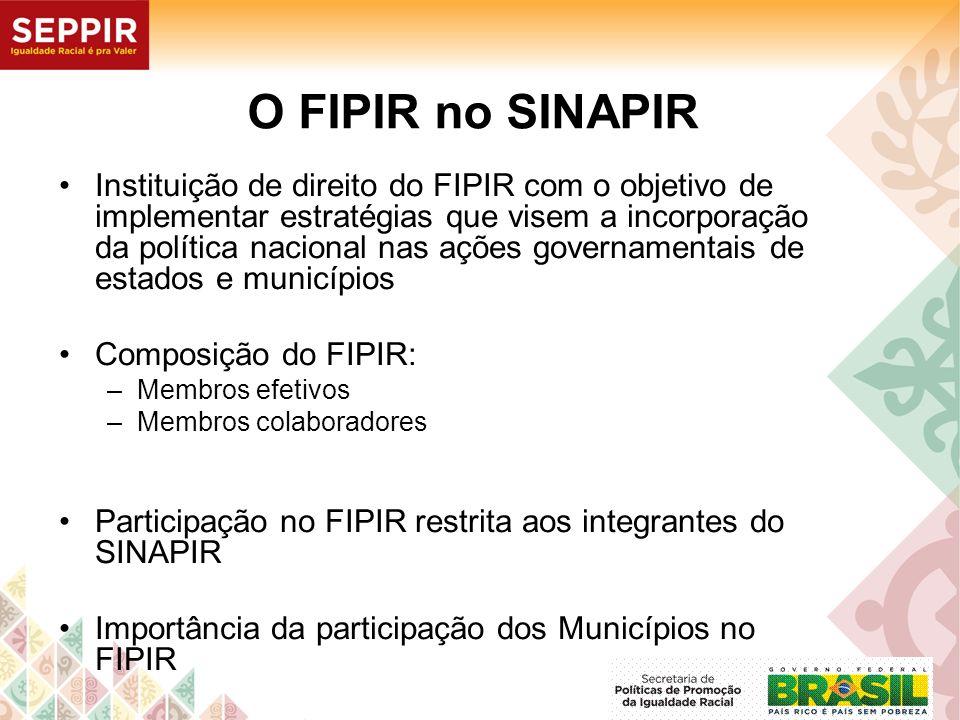 O FIPIR no SINAPIR