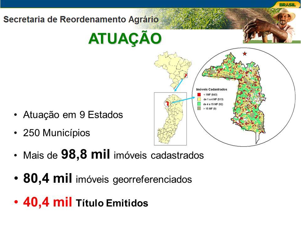 ATUAÇÃO 80,4 mil imóveis georreferenciados 40,4 mil Título Emitidos