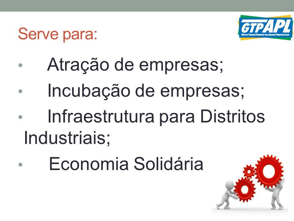 Incubação de empresas; Infraestrutura para Distritos Industriais;