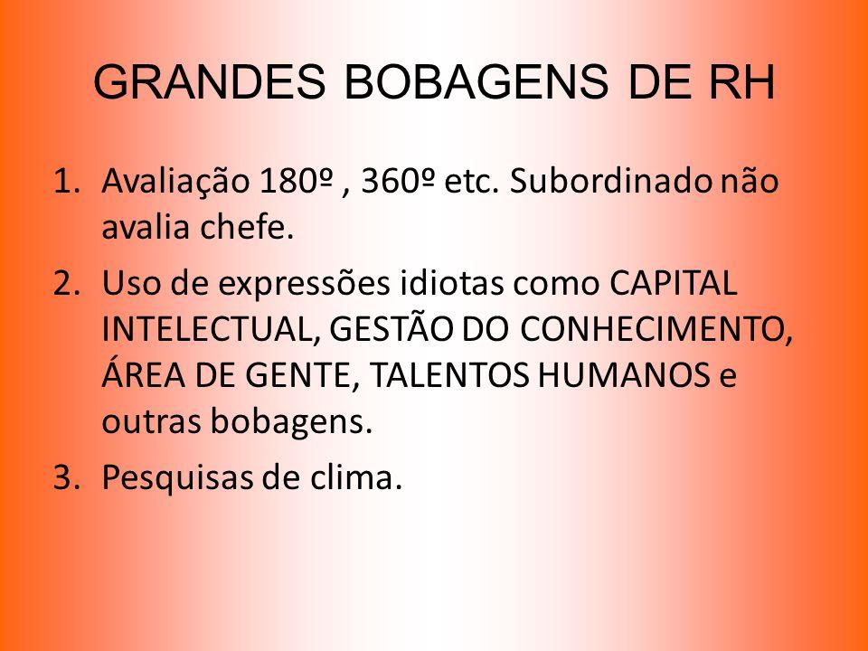 GRANDES BOBAGENS DE RH Avaliação 180º , 360º etc. Subordinado não avalia chefe.