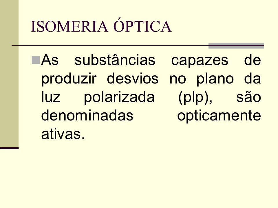 ISOMERIA ÓPTICA As substâncias capazes de produzir desvios no plano da luz polarizada (plp), são denominadas opticamente ativas.