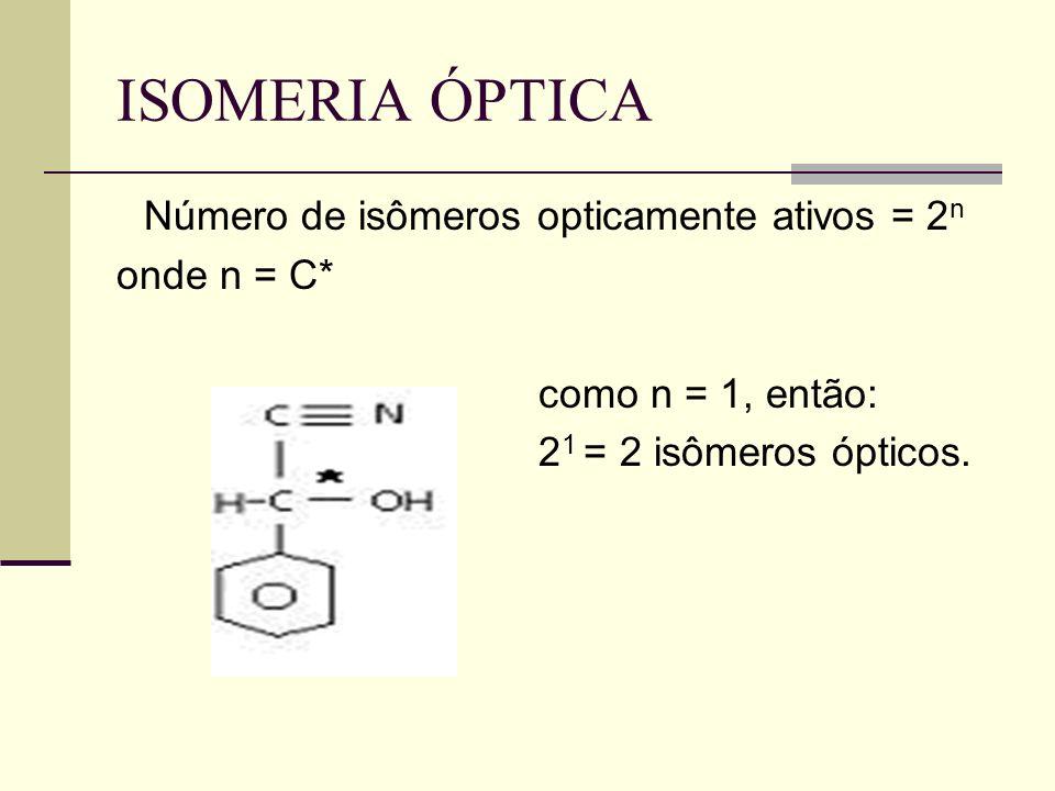 Número de isômeros opticamente ativos = 2n