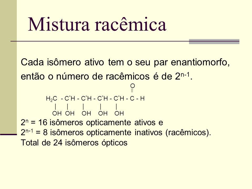 Mistura racêmica Cada isômero ativo tem o seu par enantiomorfo,