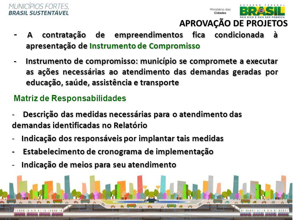 APROVAÇÃO DE PROJETOS - A contratação de empreendimentos fica condicionada à apresentação de Instrumento de Compromisso.