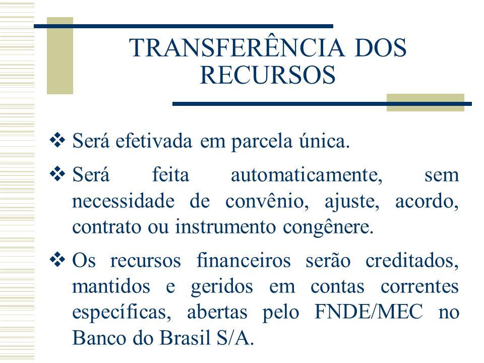 TRANSFERÊNCIA DOS RECURSOS