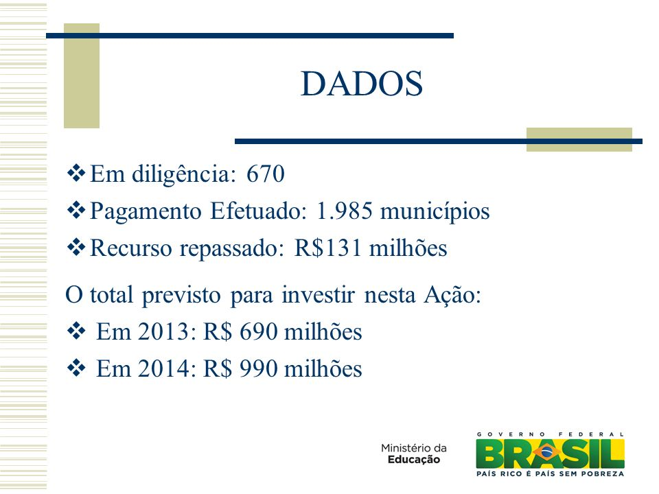 DADOS Em diligência: 670 Pagamento Efetuado: 1.985 municípios