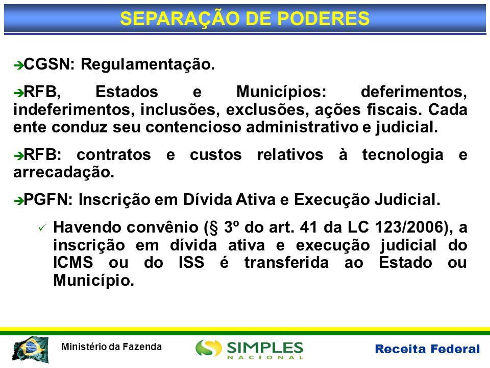SEPARAÇÃO DE PODERES CGSN: Regulamentação.