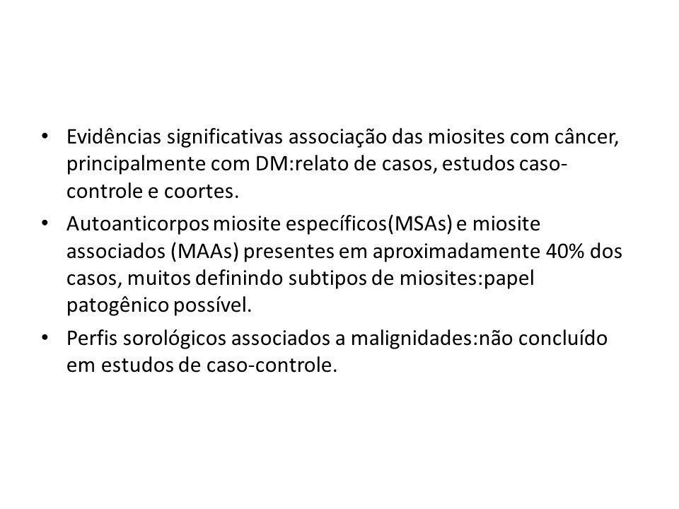 Evidências significativas associação das miosites com câncer, principalmente com DM:relato de casos, estudos caso- controle e coortes.