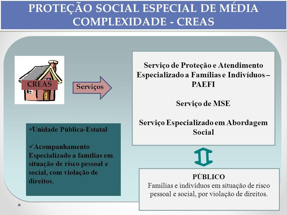 PROTEÇÃO SOCIAL ESPECIAL DE MÉDIA COMPLEXIDADE - CREAS