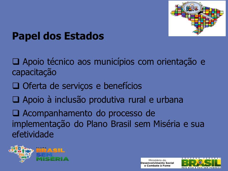 Papel dos Estados Apoio técnico aos municípios com orientação e capacitação. Oferta de serviços e benefícios.