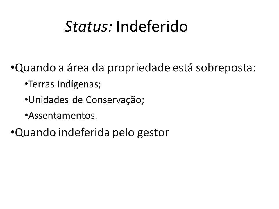 Status: Indeferido Quando a área da propriedade está sobreposta: