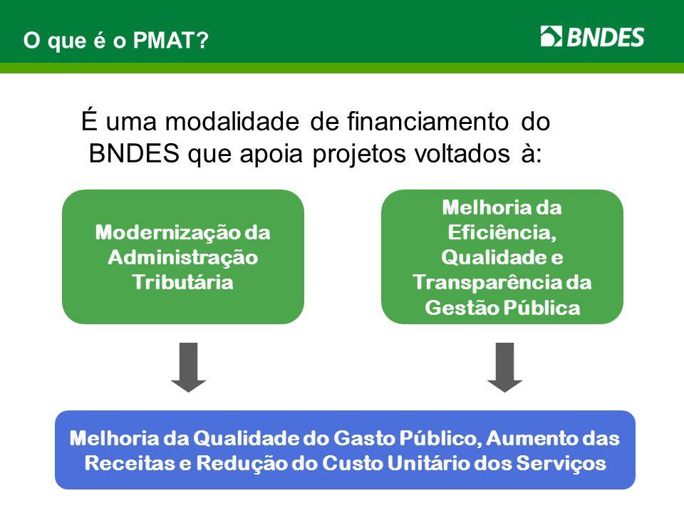 O que é o PMAT É uma modalidade de financiamento do BNDES que apoia projetos voltados à: Modernização da Administração Tributária.