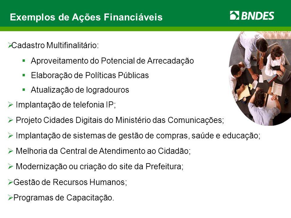 Exemplos de Ações Financiáveis