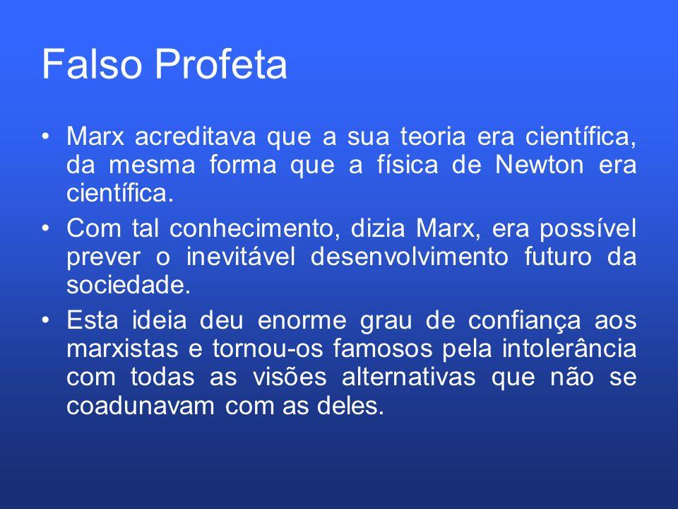 Falso Profeta Marx acreditava que a sua teoria era científica, da mesma forma que a física de Newton era científica.