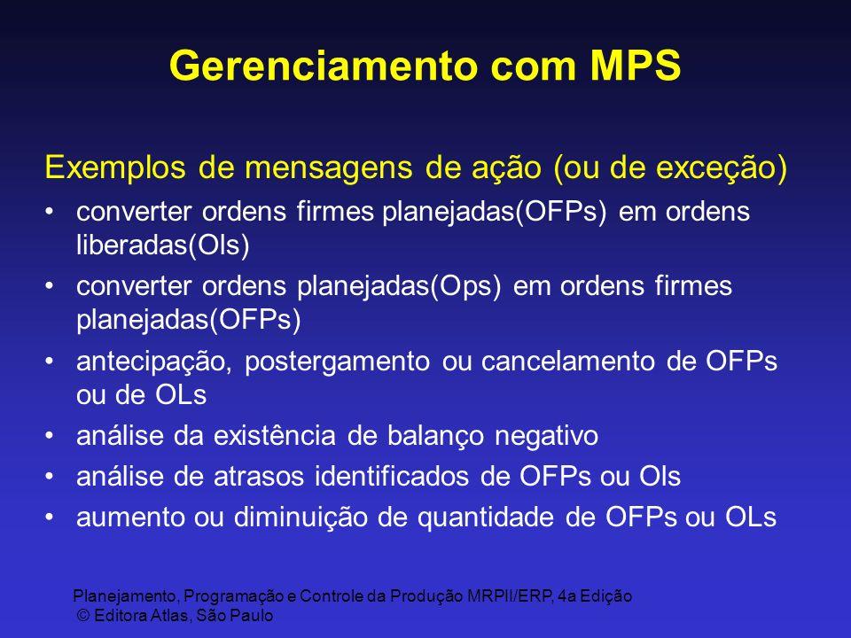 Gerenciamento com MPS Exemplos de mensagens de ação (ou de exceção)