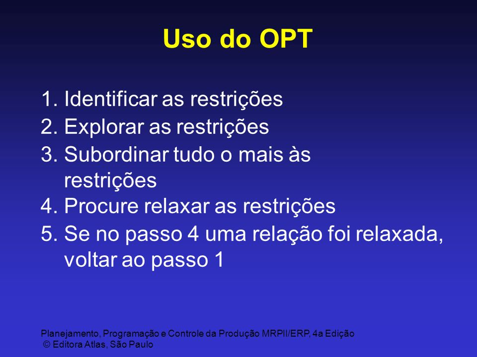 Uso do OPT 1. Identificar as restrições 2. Explorar as restrições
