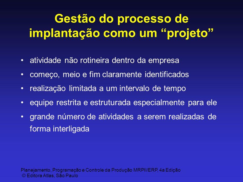 Gestão do processo de implantação como um projeto