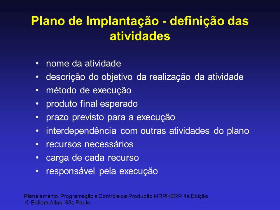 Plano de Implantação - definição das atividades
