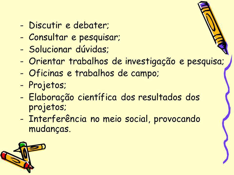 Discutir e debater; Consultar e pesquisar; Solucionar dúvidas; Orientar trabalhos de investigação e pesquisa;