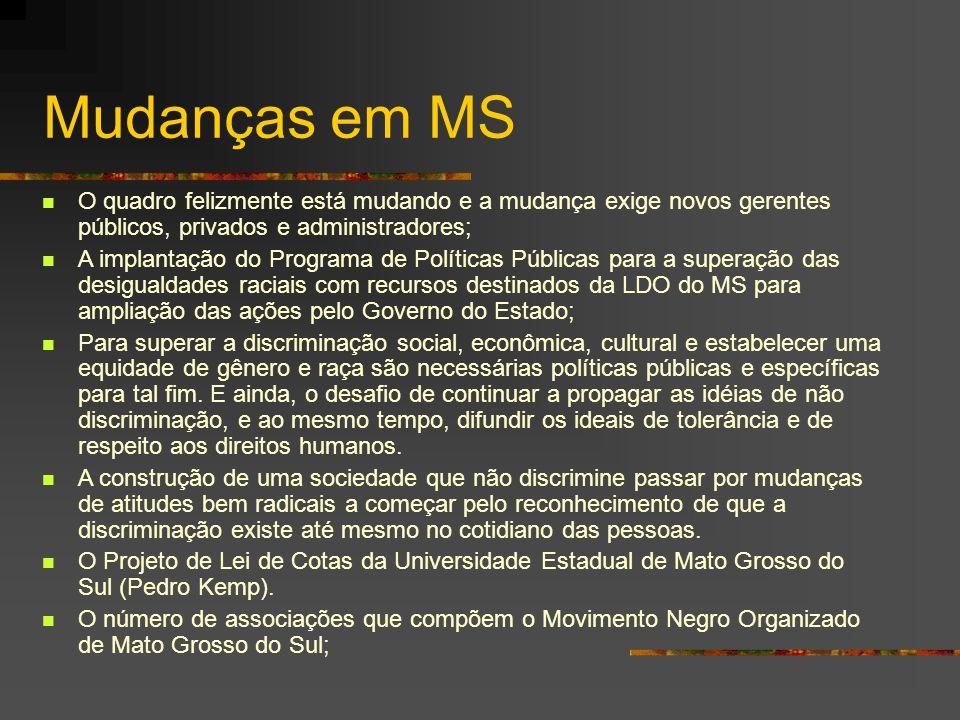 Mudanças em MS O quadro felizmente está mudando e a mudança exige novos gerentes públicos, privados e administradores;