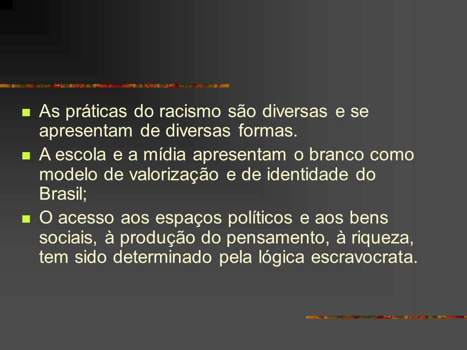 As práticas do racismo são diversas e se apresentam de diversas formas.