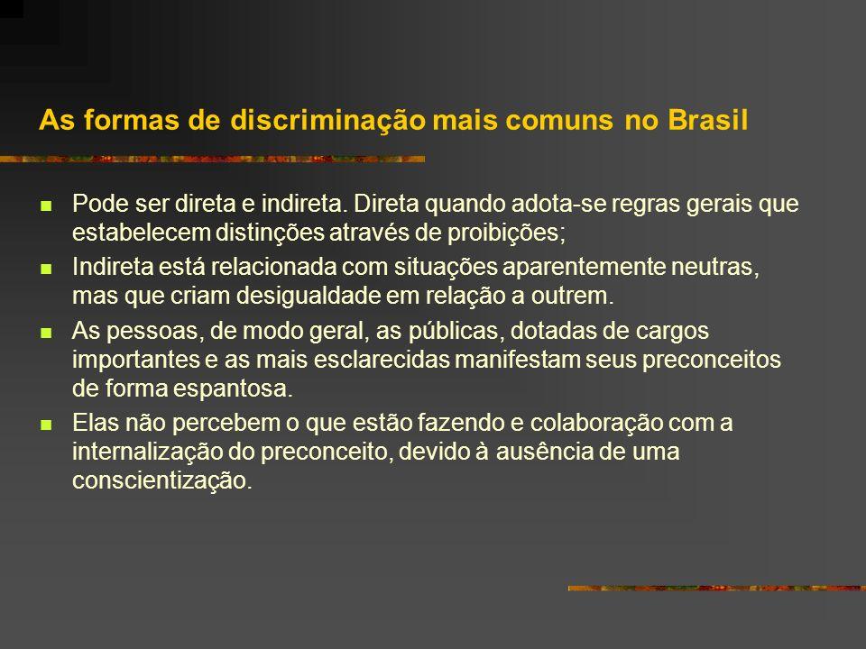 As formas de discriminação mais comuns no Brasil