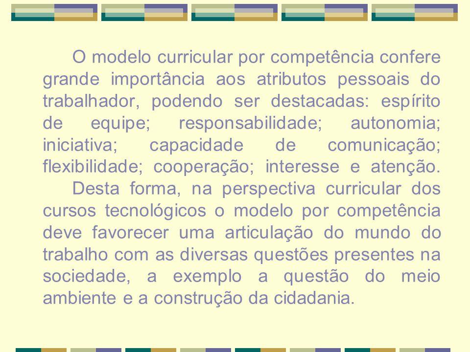 O modelo curricular por competência confere grande importância aos atributos pessoais do trabalhador, podendo ser destacadas: espírito de equipe; responsabilidade; autonomia; iniciativa; capacidade de comunicação; flexibilidade; cooperação; interesse e atenção.