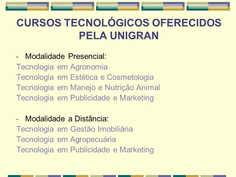 CURSOS TECNOLÓGICOS OFERECIDOS PELA UNIGRAN