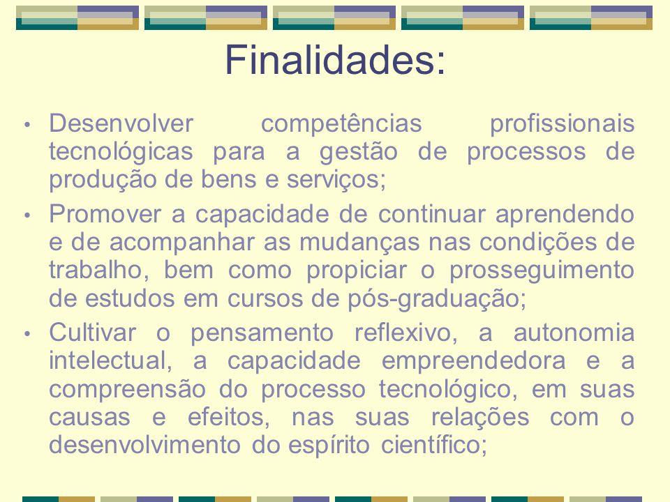 Finalidades: Desenvolver competências profissionais tecnológicas para a gestão de processos de produção de bens e serviços;
