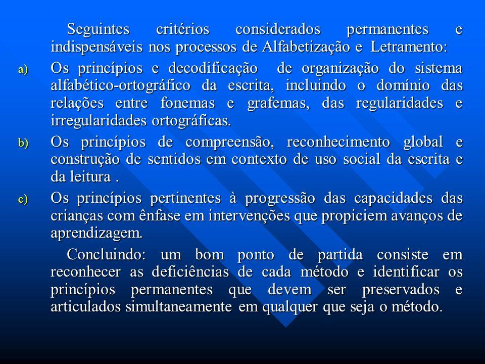 Seguintes critérios considerados permanentes e indispensáveis nos processos de Alfabetização e Letramento: