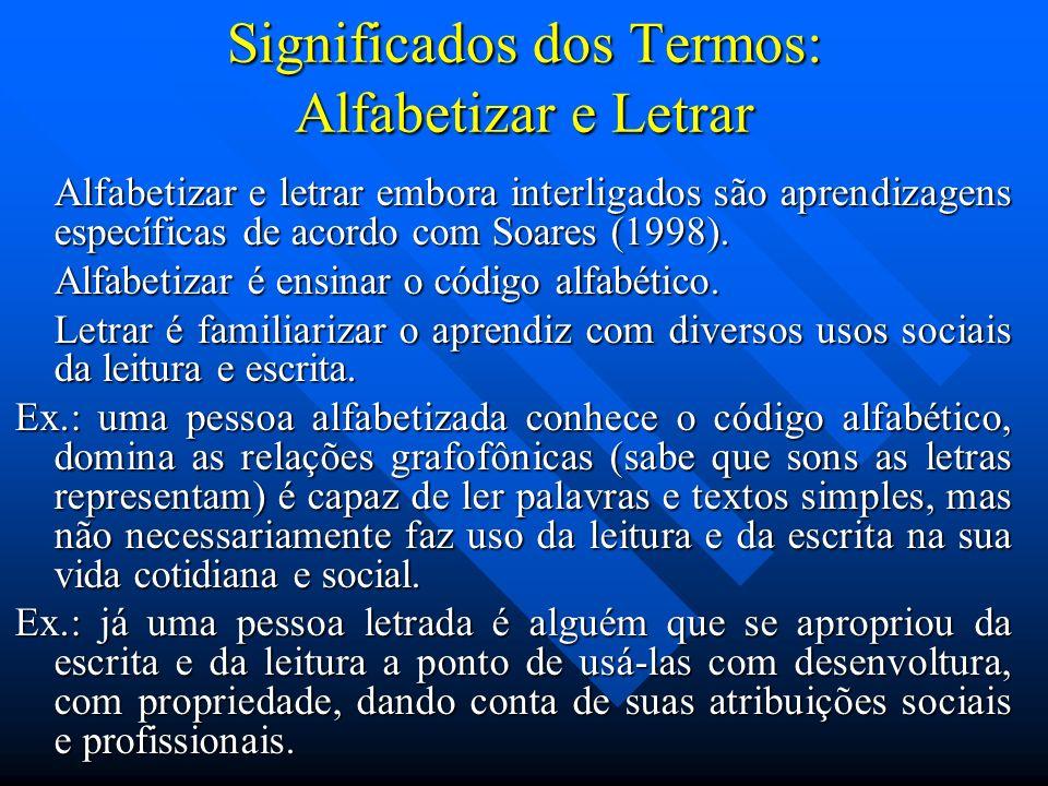 Significados dos Termos: Alfabetizar e Letrar