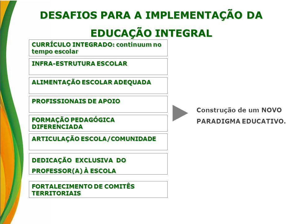 DESAFIOS PARA A IMPLEMENTAÇÃO DA EDUCAÇÃO INTEGRAL