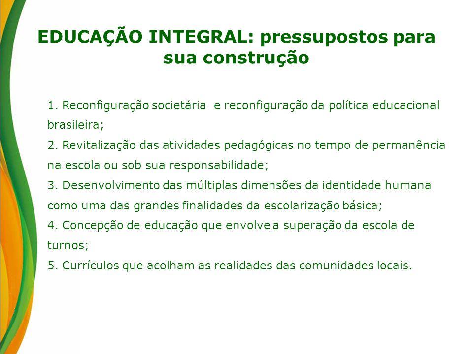 EDUCAÇÃO INTEGRAL: pressupostos para sua construção