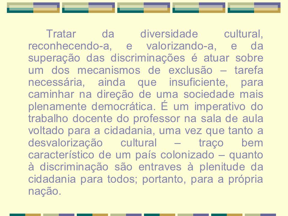 Tratar da diversidade cultural, reconhecendo-a, e valorizando-a, e da superação das discriminações é atuar sobre um dos mecanismos de exclusão – tarefa necessária, ainda que insuficiente, para caminhar na direção de uma sociedade mais plenamente democrática.