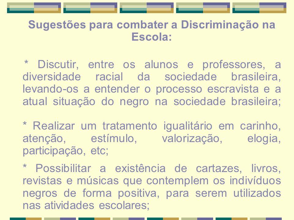 Sugestões para combater a Discriminação na Escola: