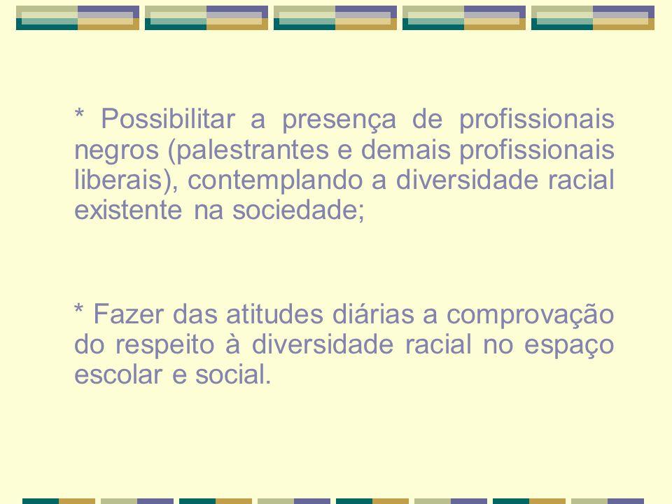 * Possibilitar a presença de profissionais negros (palestrantes e demais profissionais liberais), contemplando a diversidade racial existente na sociedade;