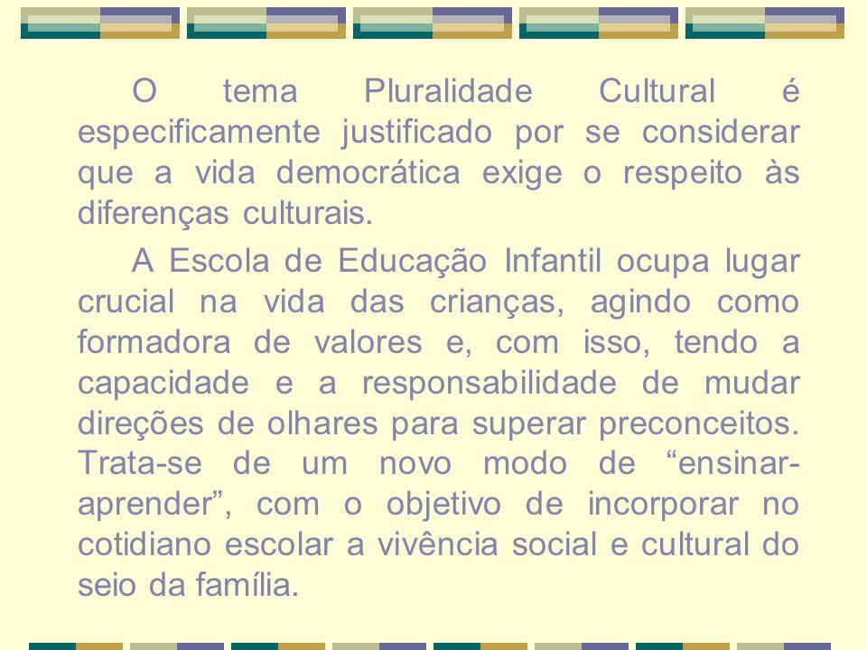 O tema Pluralidade Cultural é especificamente justificado por se considerar que a vida democrática exige o respeito às diferenças culturais.
