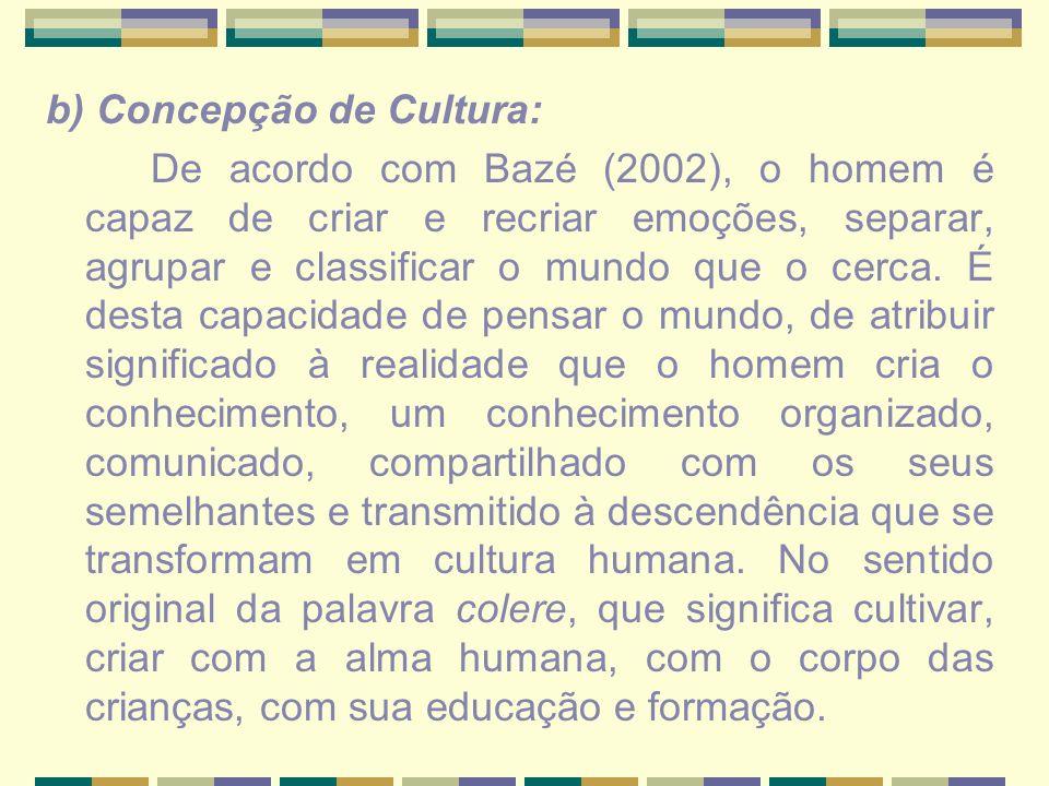 b) Concepção de Cultura: