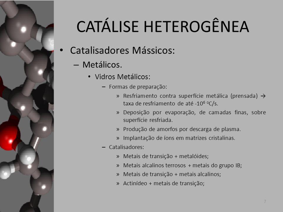 CATÁLISE HETEROGÊNEA Catalisadores Mássicos: Metálicos.