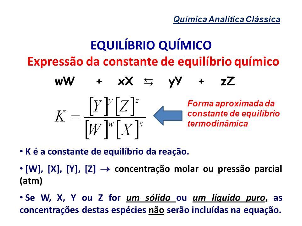 Expressão da constante de equilíbrio químico