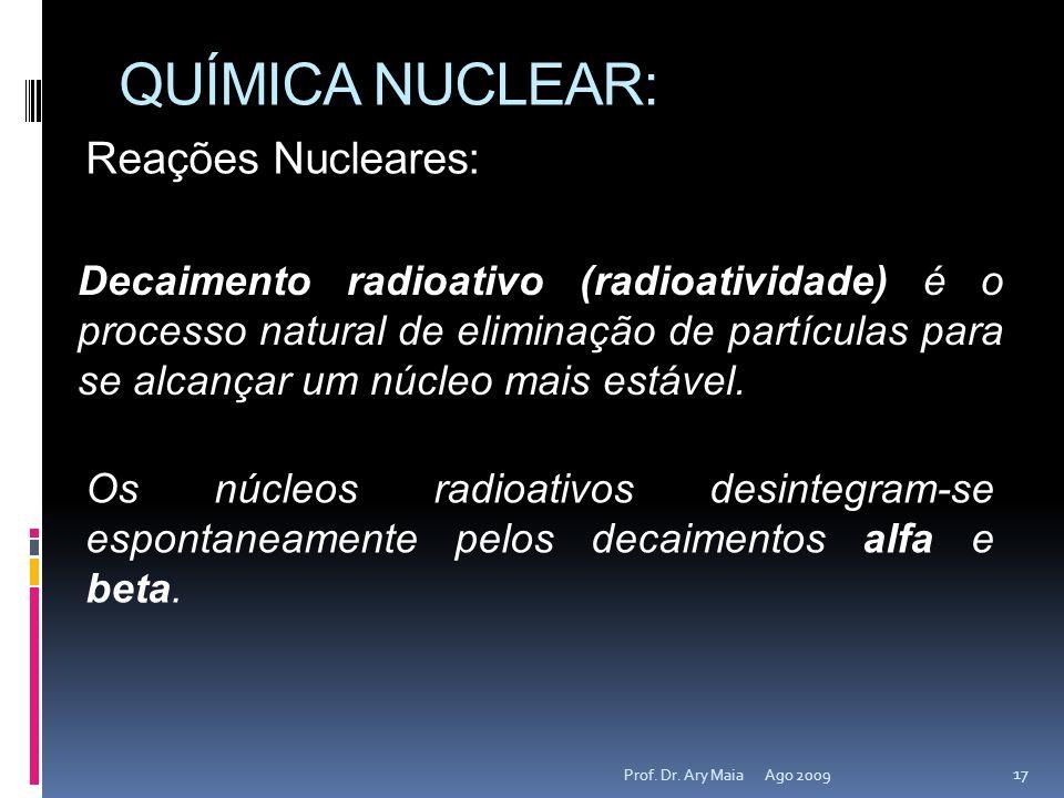 QUÍMICA NUCLEAR: Reações Nucleares: