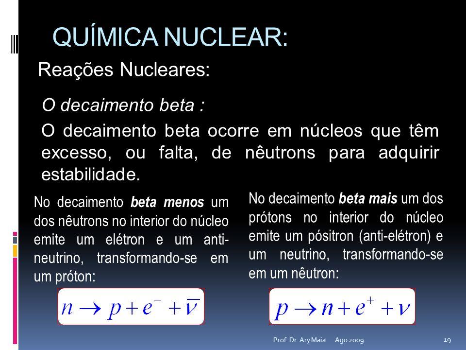 QUÍMICA NUCLEAR: Reações Nucleares: O decaimento beta :