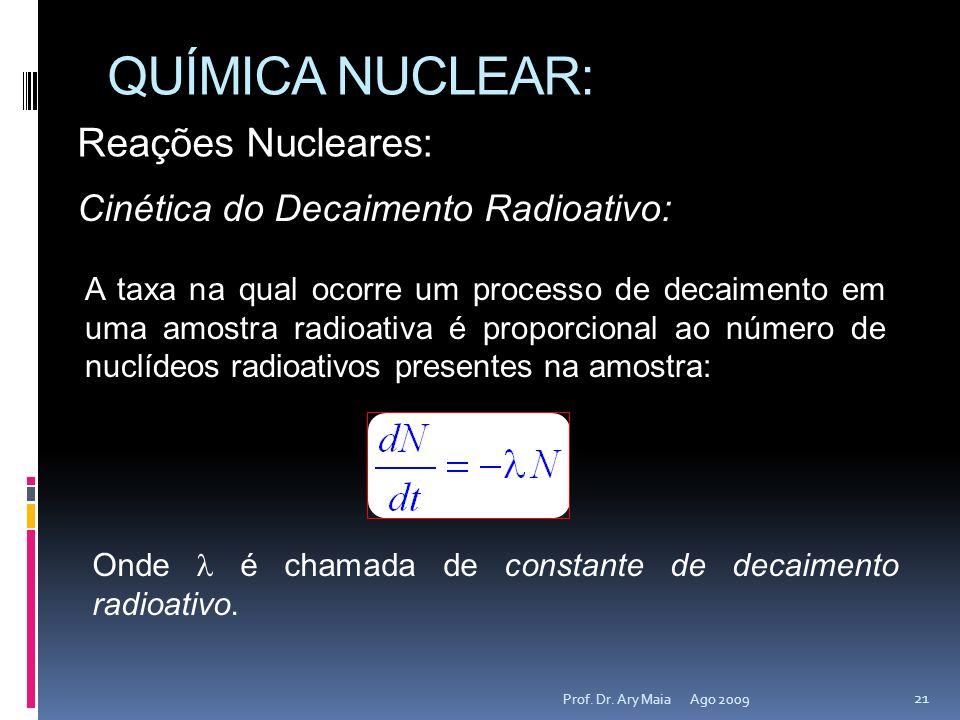 QUÍMICA NUCLEAR: Reações Nucleares: Cinética do Decaimento Radioativo: