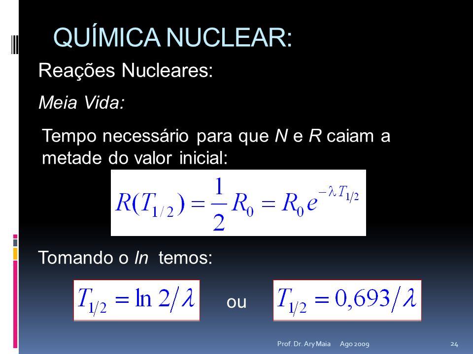 QUÍMICA NUCLEAR: Reações Nucleares: Meia Vida: