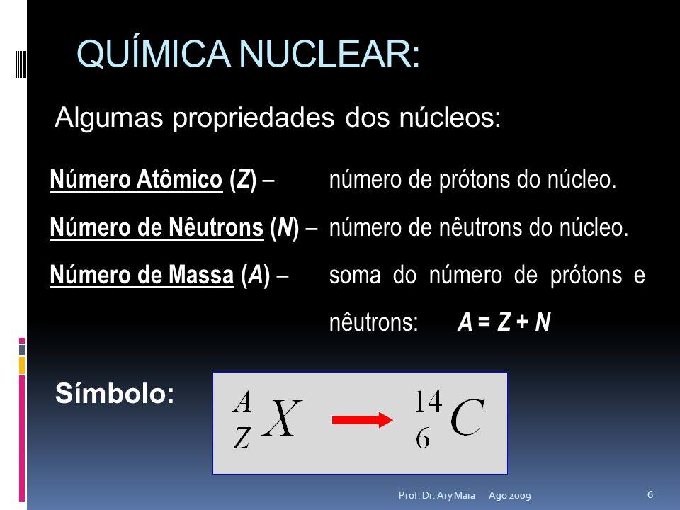 QUÍMICA NUCLEAR: Algumas propriedades dos núcleos: Símbolo:
