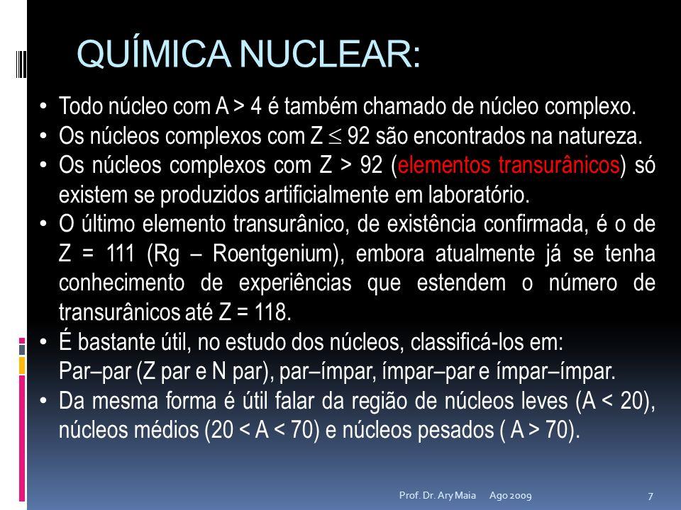 QUÍMICA NUCLEAR:Todo núcleo com A > 4 é também chamado de núcleo complexo. Os núcleos complexos com Z  92 são encontrados na natureza.