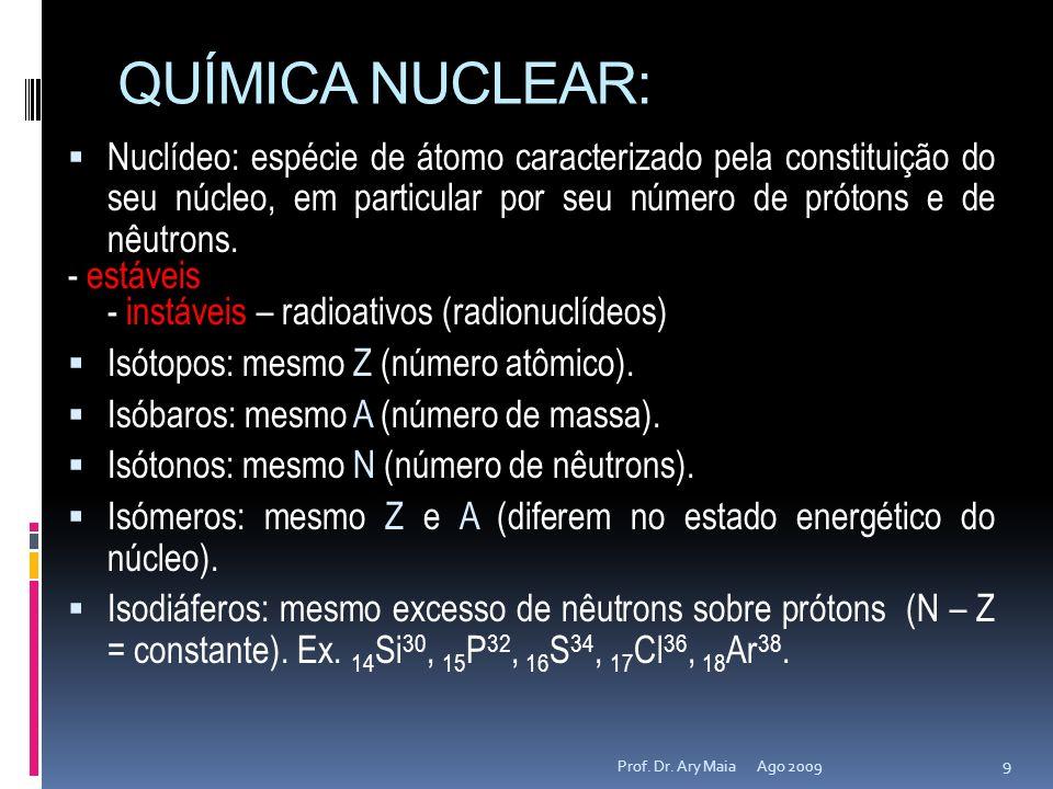 QUÍMICA NUCLEAR:Nuclídeo: espécie de átomo caracterizado pela constituição do seu núcleo, em particular por seu número de prótons e de nêutrons.