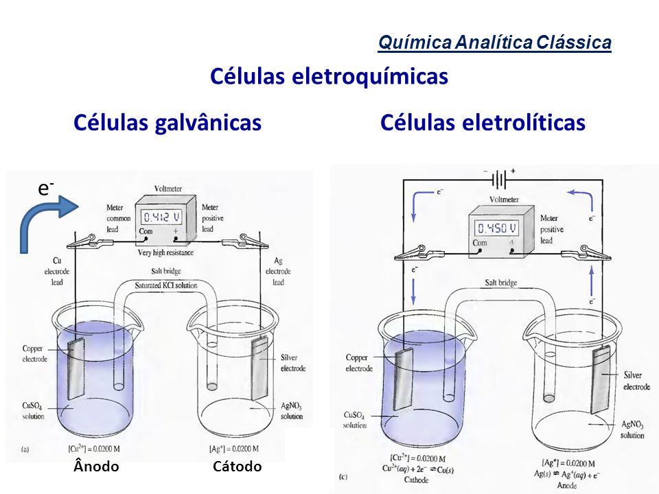 Células eletroquímicas Células galvânicas Células eletrolíticas